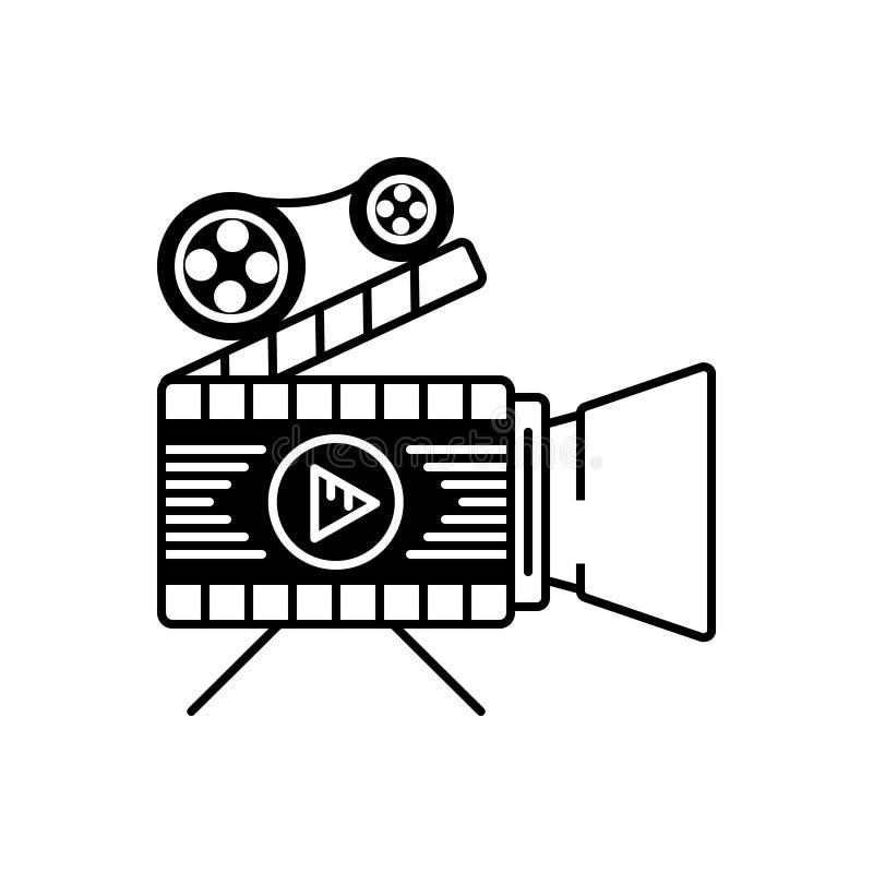 Svart fast symbol för särdrag, film och skytte royaltyfri illustrationer