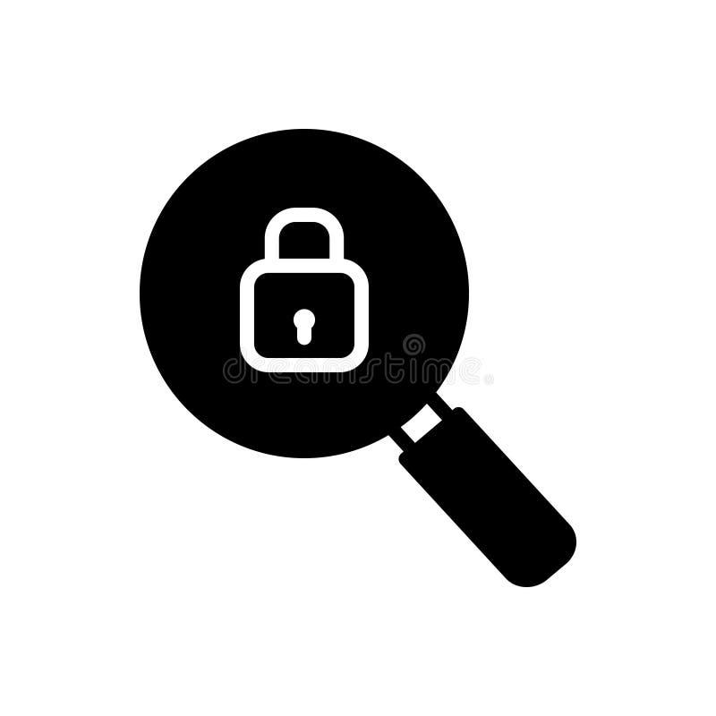Svart fast symbol för sökande som är säkra och att bläddra royaltyfri illustrationer