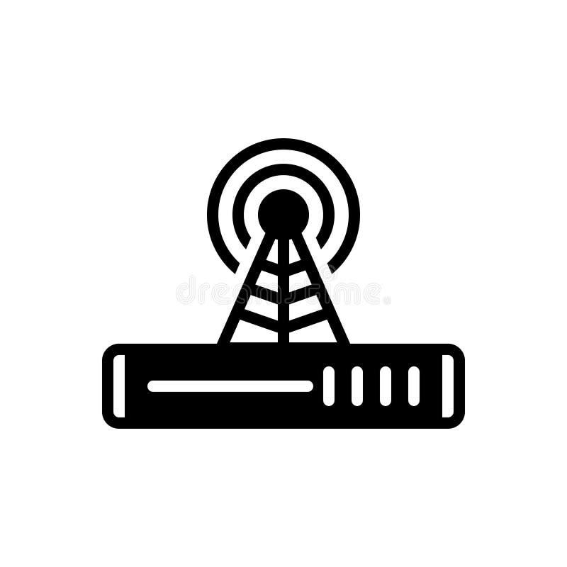 Svart fast symbol för signal, indikering och teknologi royaltyfri illustrationer