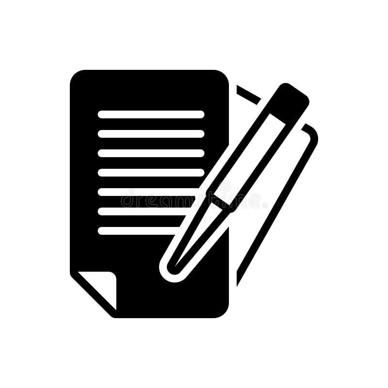 Svart fast symbol för skrivbordsarbete, byråkrati och dokument royaltyfri illustrationer
