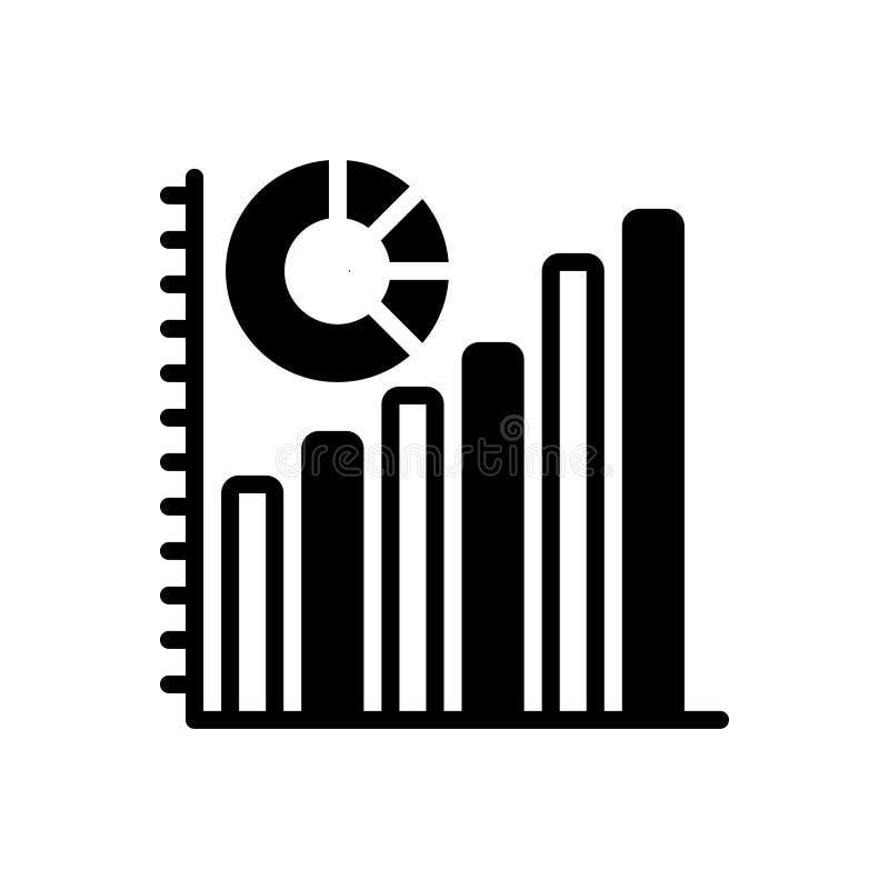 Svart fast symbol för statistik, diagram och diagram vektor illustrationer