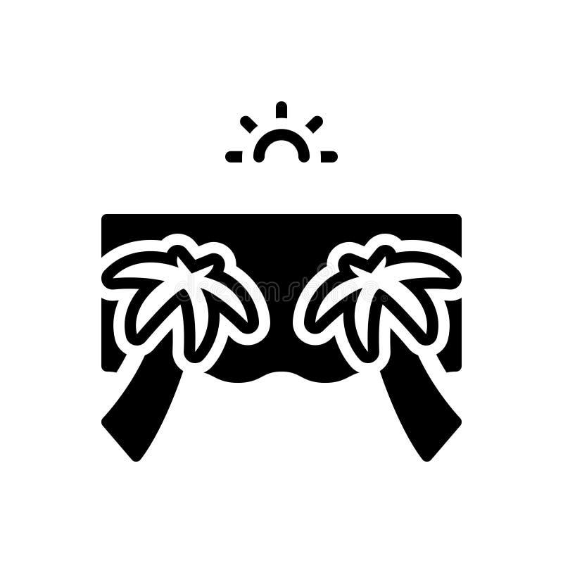Svart fast symbol för strand, sjösida och kust vektor illustrationer