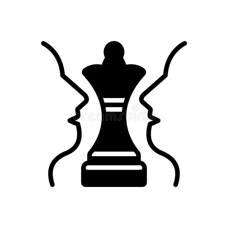 Svart fast symbol för strategiskt plan, schack och utmaning royaltyfri illustrationer