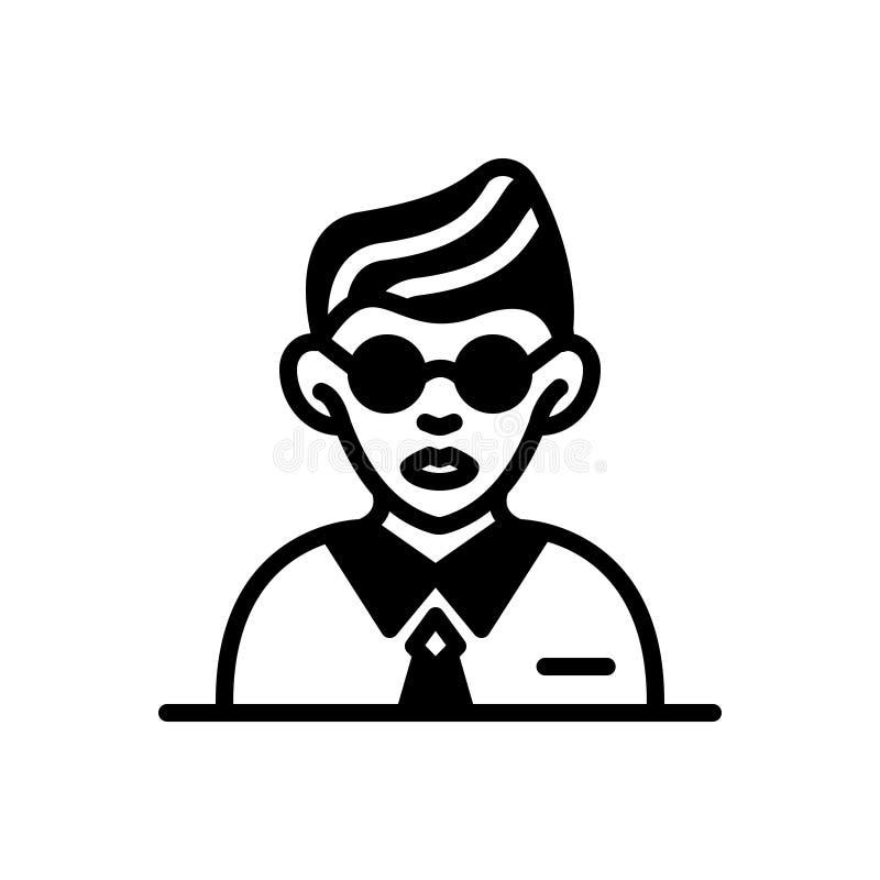 Svart fast symbol för studenter, elev och skolpojke vektor illustrationer