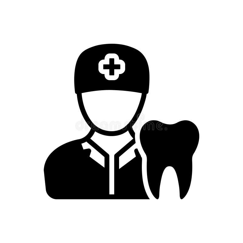 Svart fast symbol för tandläkare, tand- och undersökning stock illustrationer