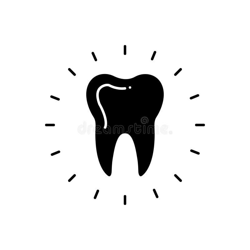 Svart fast symbol för tandvård, tandläkekonst och kliniker stock illustrationer