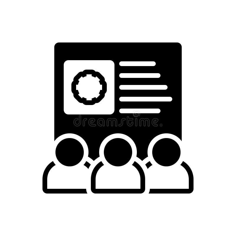 Svart fast symbol för Team Skills, anställd och att konfigurera vektor illustrationer
