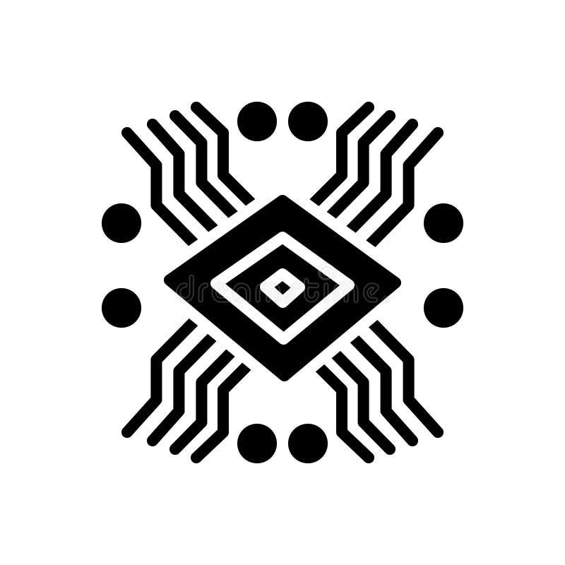 Svart fast symbol för teknologi, elektroniskt och moderkort vektor illustrationer