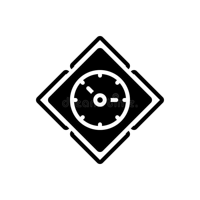Svart fast symbol för Tid, visartavlor och klocka royaltyfri illustrationer