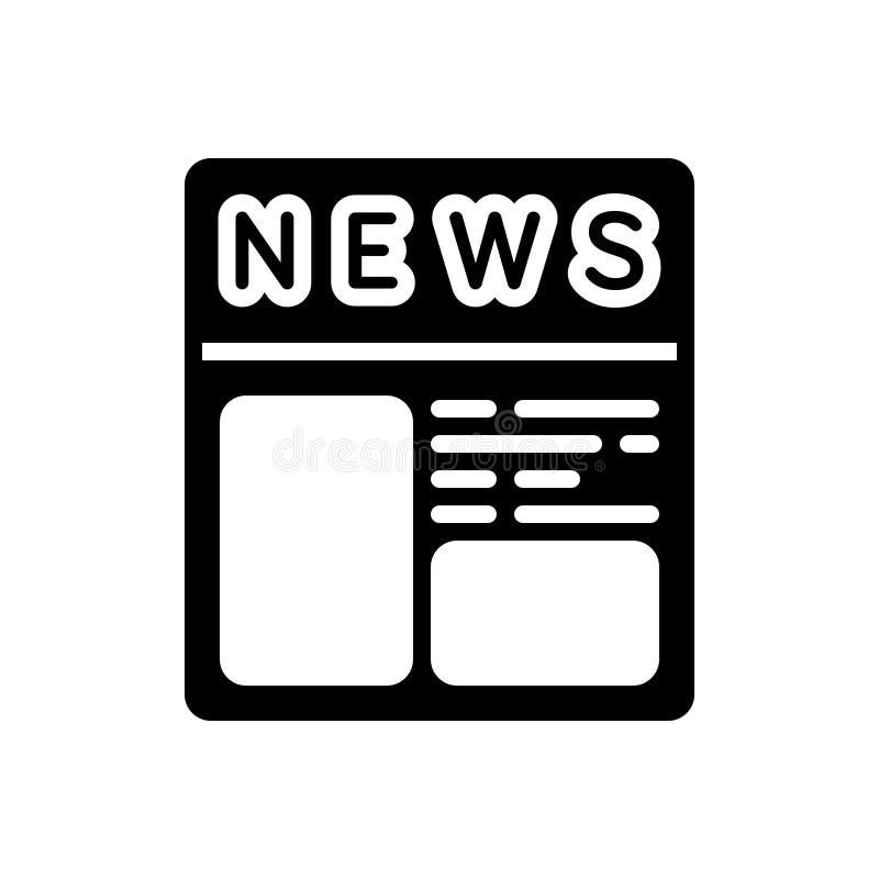 Svart fast symbol för tidningsannonser, papper och tidskrift stock illustrationer