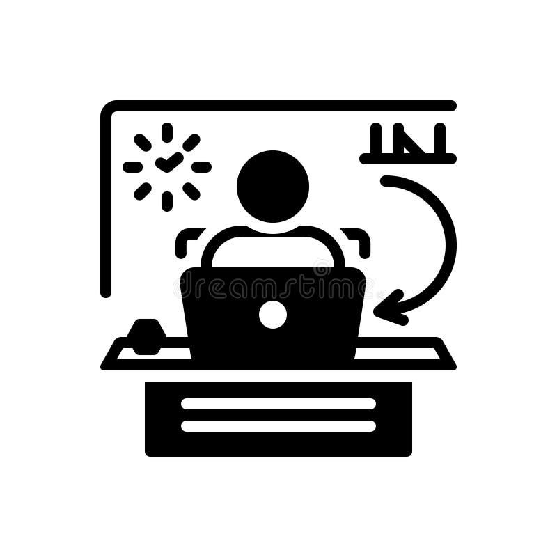 Svart fast symbol för tillbaka kontor, skrivbord och arbete stock illustrationer