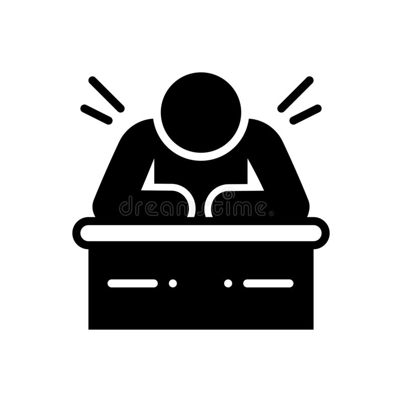 Svart fast symbol för trögt, lat och att dröja sig kvar stock illustrationer