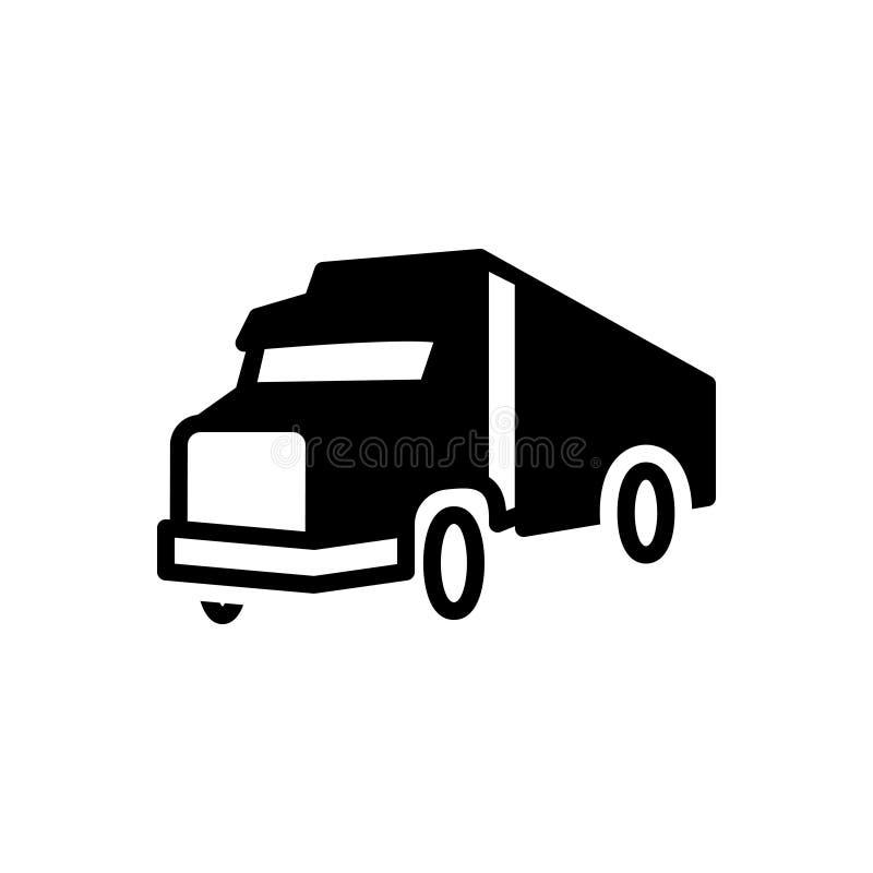 Svart fast symbol för transport, vagn och lastbil stock illustrationer