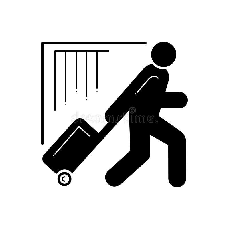 Svart fast symbol för turist, campare och utflyktsdeltagare vektor illustrationer