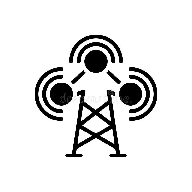 Svart fast symbol för TV-sändning, radio och wifi royaltyfri illustrationer