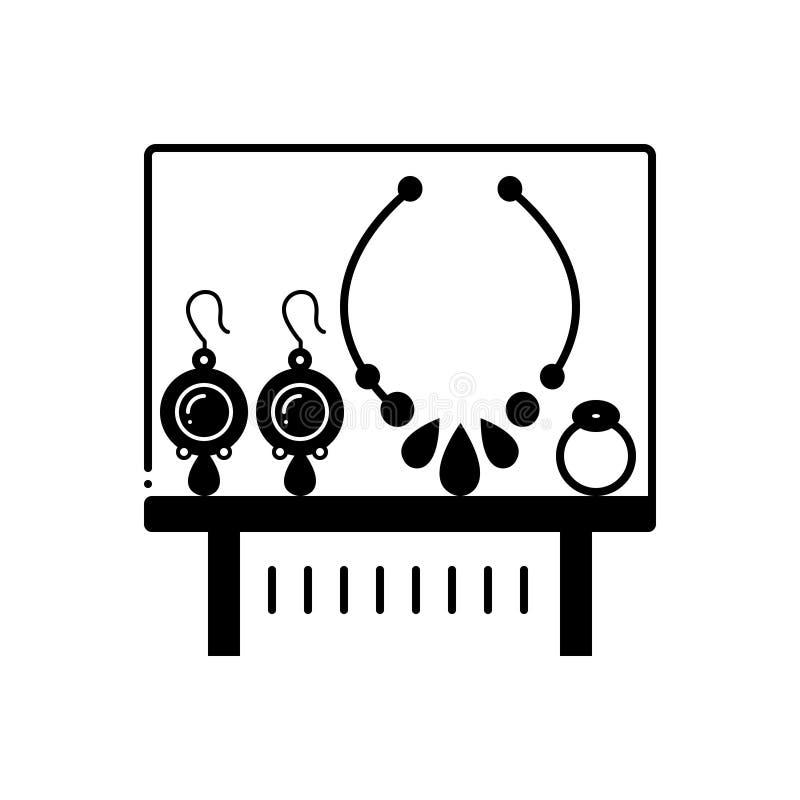 Svart fast symbol för utställning, prydnad och att pryda för juvel vektor illustrationer
