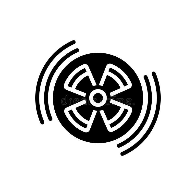 Svart fast symbol för utstrålning, utstrålningstecken och eradiation royaltyfri illustrationer