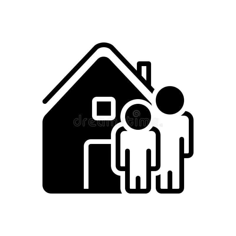 Svart fast symbol för vår, hus och oss vektor illustrationer
