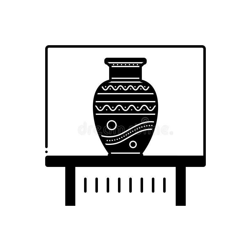 Svart fast symbol för vasutställning, kalash och krus royaltyfri illustrationer