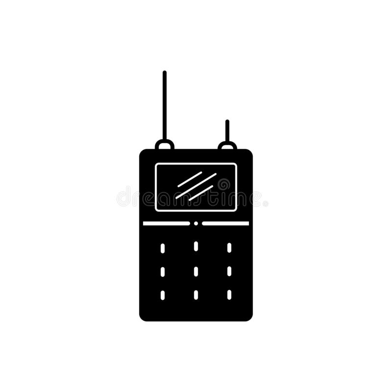 Svart fast symbol för Walkie, talkie och kommunikation vektor illustrationer