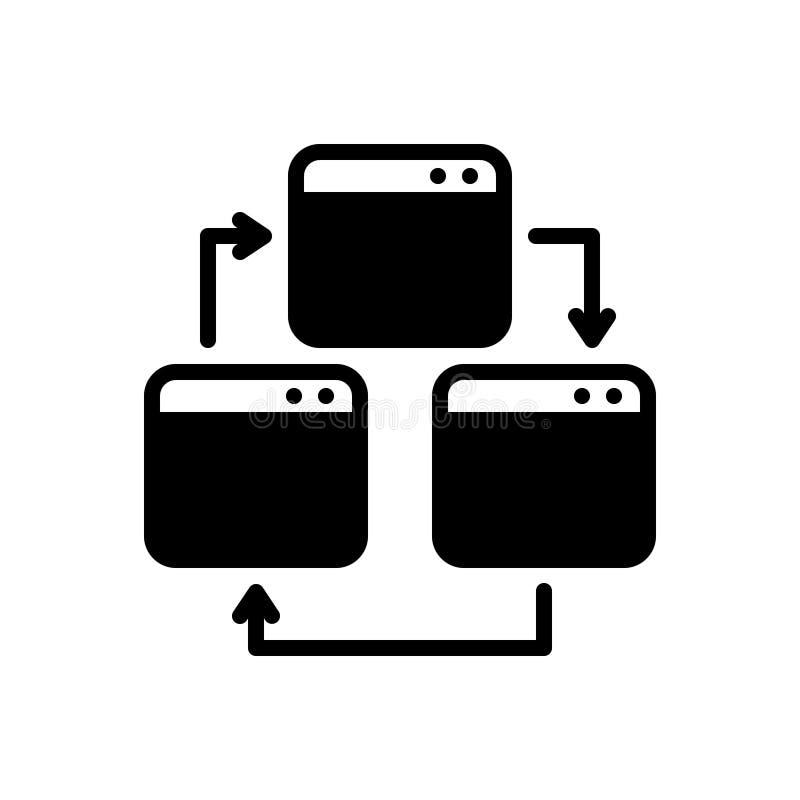 Svart fast symbol för webbsida, webbläsare och prov vektor illustrationer