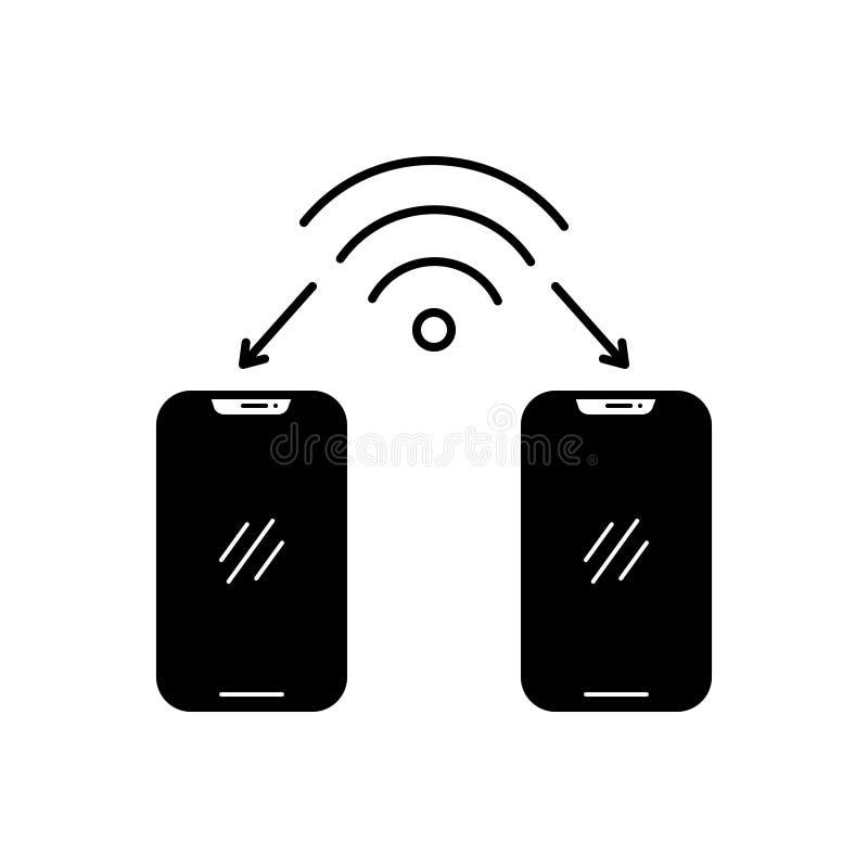 Svart fast symbol för Wifi anslutning, trådlöst och moderiktigt royaltyfri illustrationer
