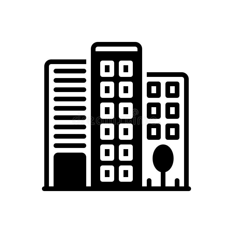 Svart fast symbol f?r kontorsbyggnad, f?retags och arkitektur royaltyfri illustrationer