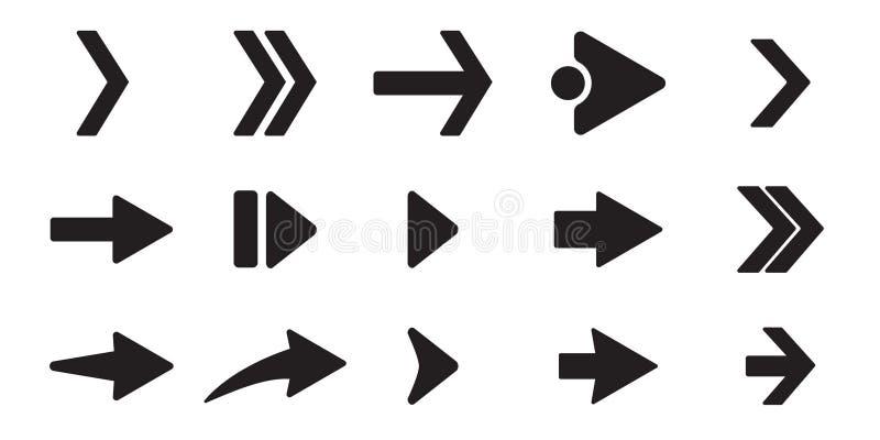Svart fastställda pilsymboler Olikt formbegrepp, internetknapp som isoleras på vit bakgrund, grafisk design Plant piltecken stock illustrationer
