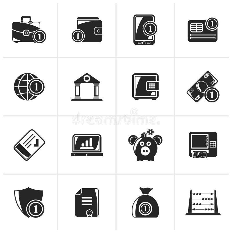 Svart finansiellt, packa ihop och pengarsymboler royaltyfri illustrationer