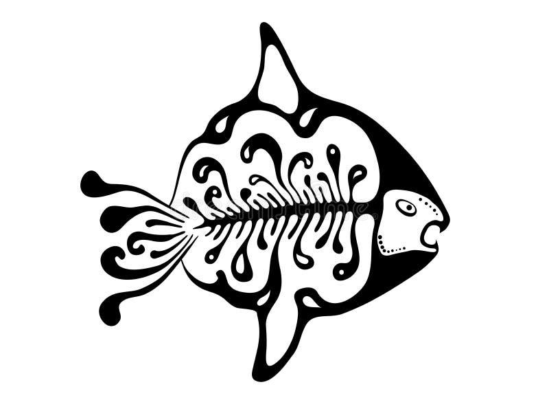Svart fisk i den infödda stilen, vektor royaltyfri illustrationer