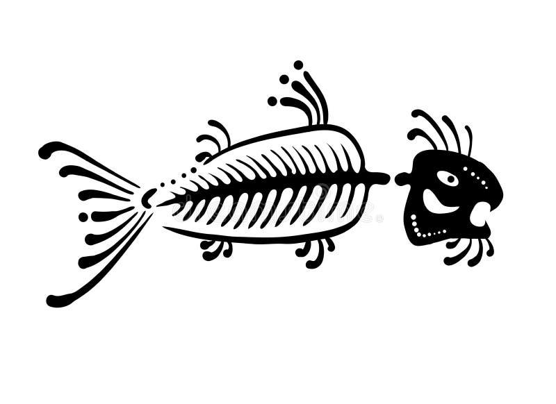 Svart fisk i den infödda stilen, vektor stock illustrationer