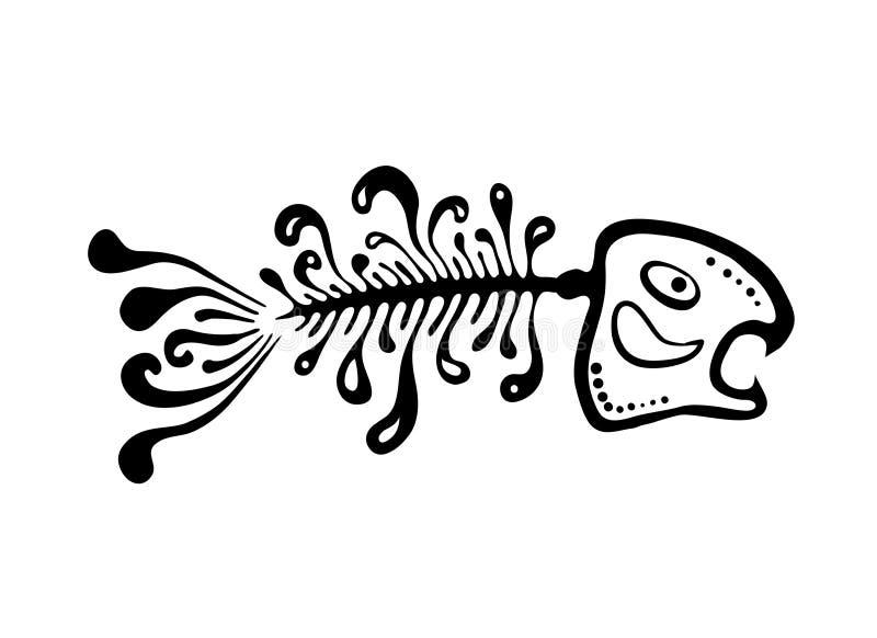 Svart fiskben, vektorillustration royaltyfri illustrationer