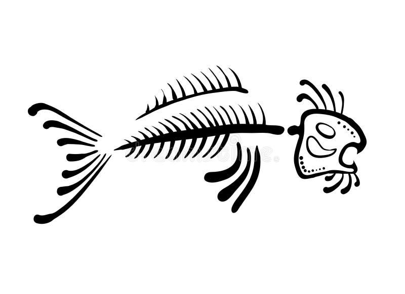 Svart fiskben, vektorillustration vektor illustrationer