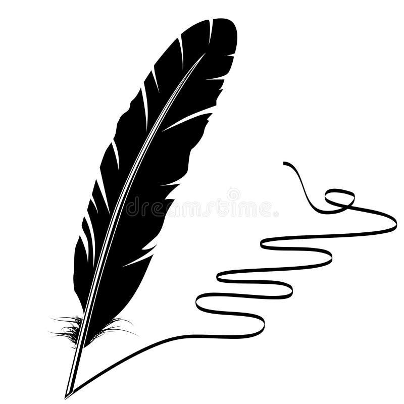 svart fjäderkrusidullwhite vektor illustrationer