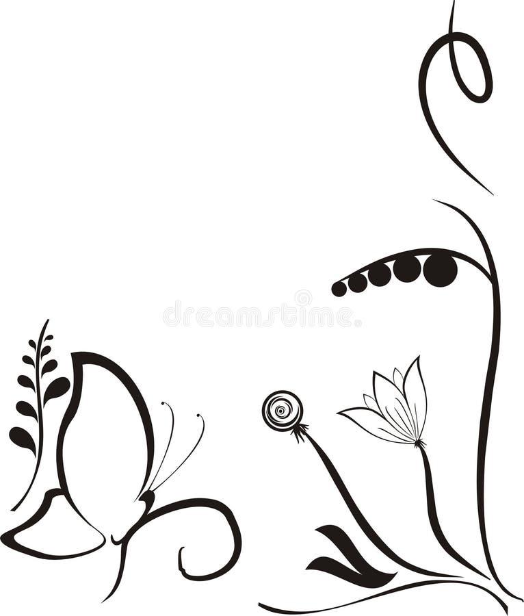 svart fjärilsblommavektor stock illustrationer