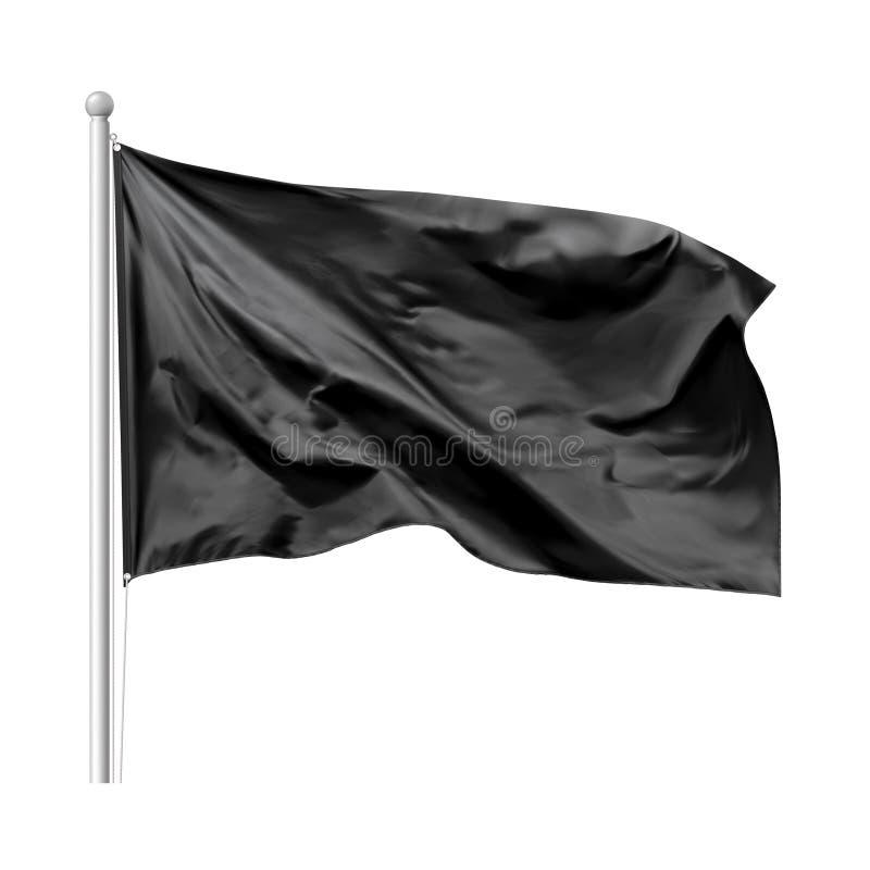 Svart flagga som vinkar i vinden på flaggstång stock illustrationer