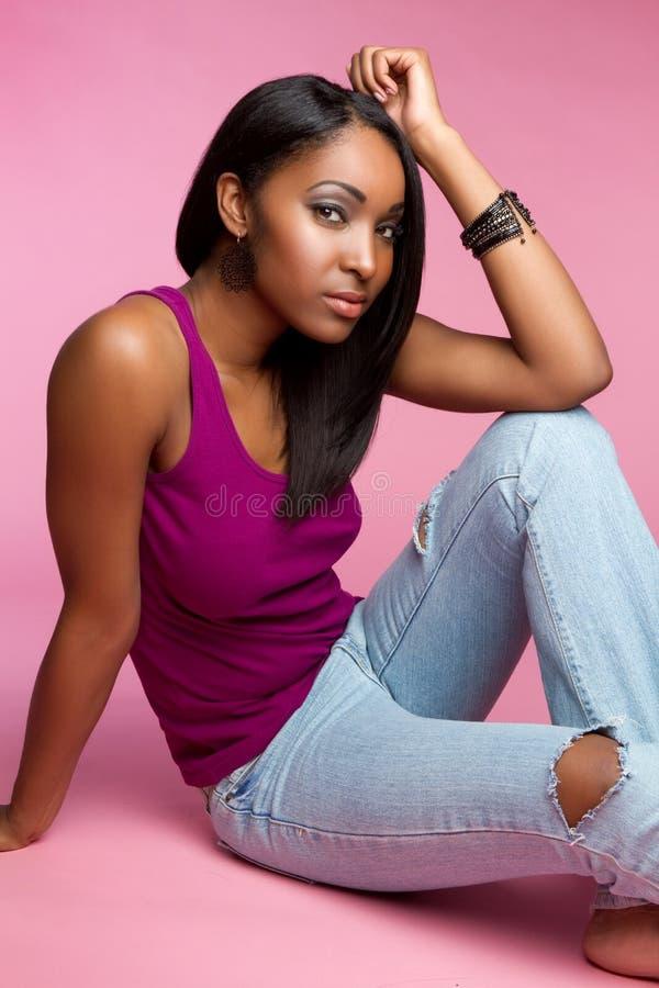 svart flicka royaltyfria bilder