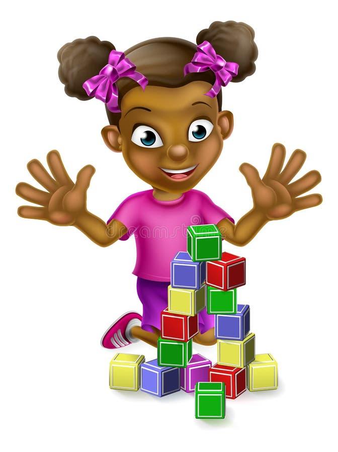 Svart flicka som spelar med byggnadskvarter royaltyfri illustrationer