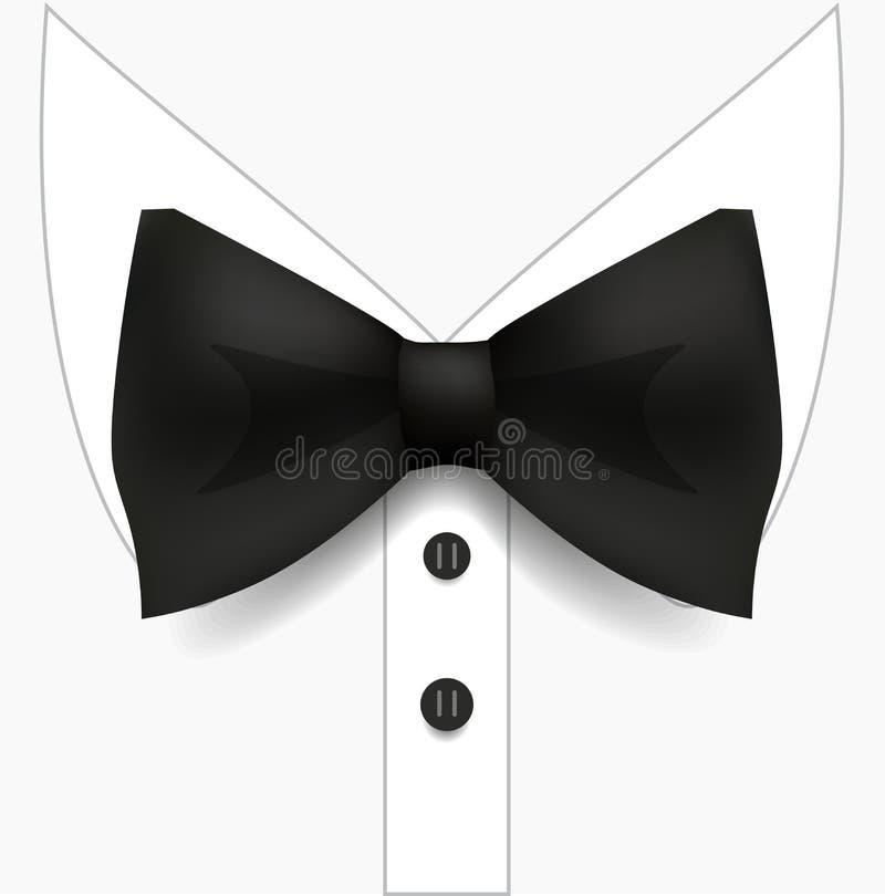 Svart fluga och vitskjorta Manmodestil Realistisk vektorillustration royaltyfri illustrationer