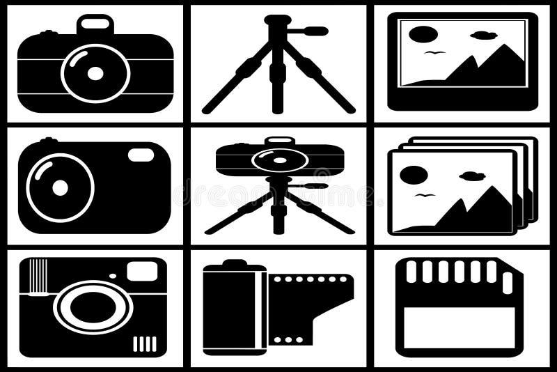 Svart fotouppsättningsamling fotografering för bildbyråer