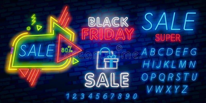 Svart fredag baner Original- affisch för rabatt Geometriska former och neon glöder mot en mörk bakgrund också vektor för coreldra fotografering för bildbyråer