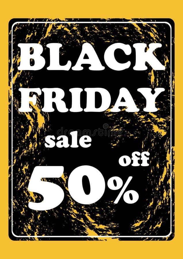 Svart fredag försäljning femtio procent av affärsidévektorillustration royaltyfri illustrationer
