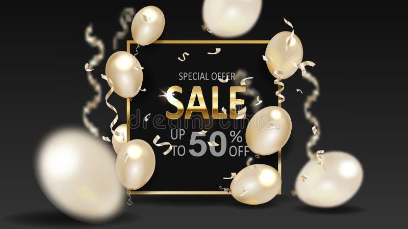 Svart fredag försäljningsbakgrund med ramen och guld- ballonger royaltyfri illustrationer