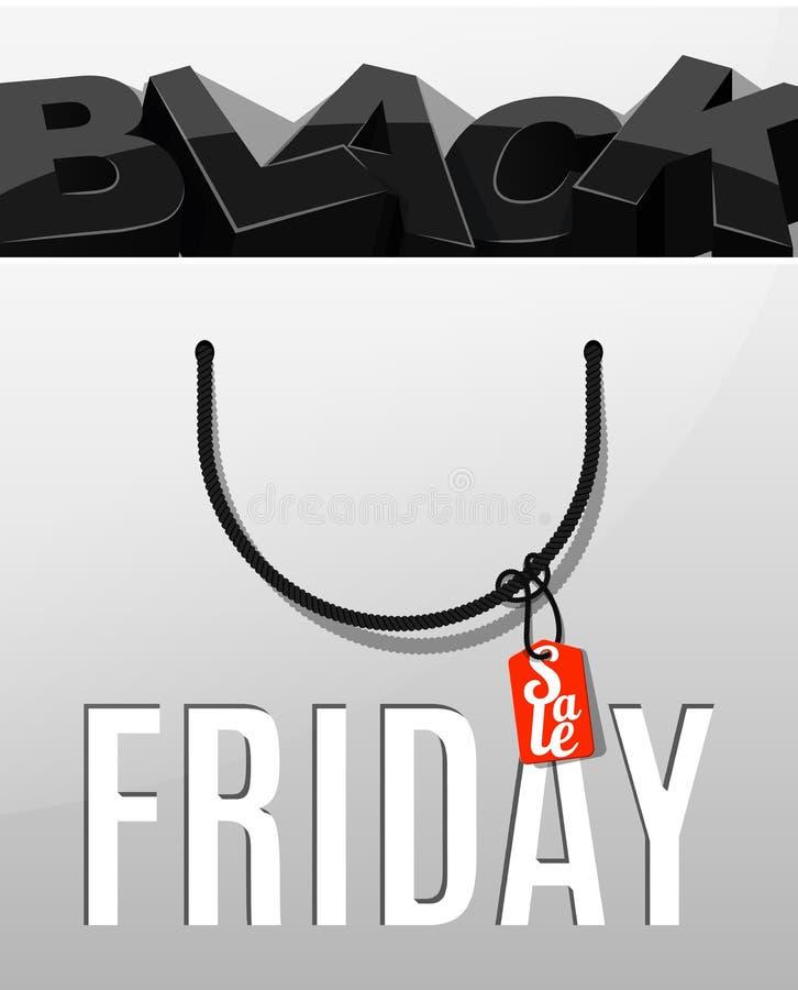 Svart fredag försäljningsdesign Bokstäver i packen vektor illustrationer