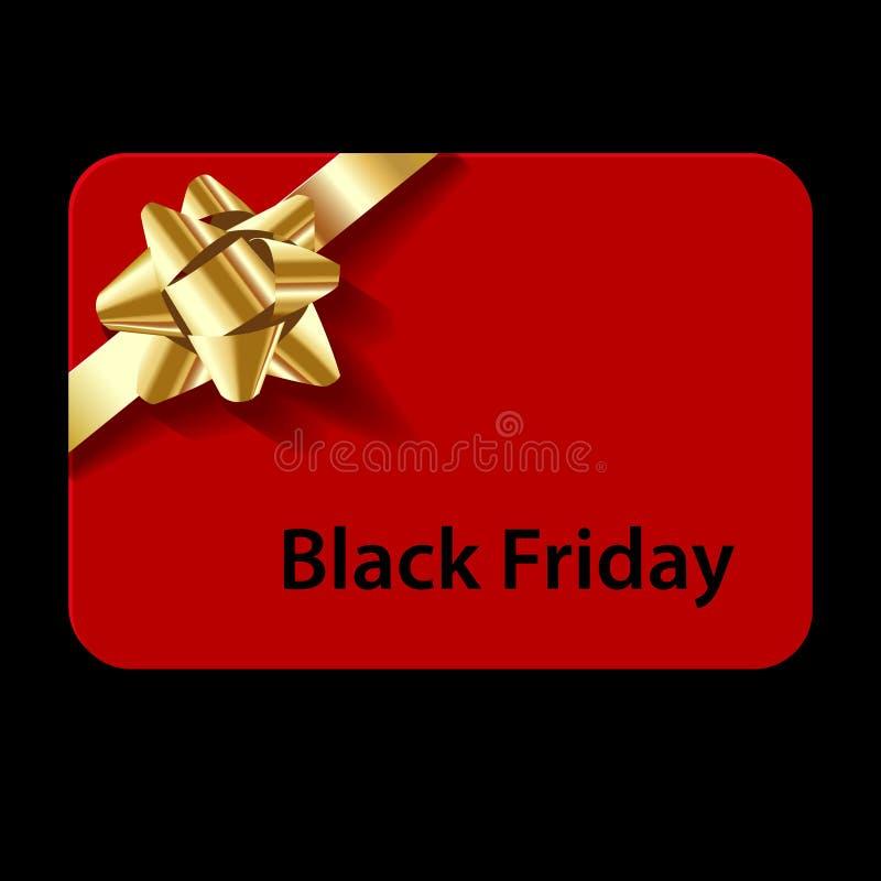Svart fredag gåvakort som är rött med den guld- pilbågen på en svart bakgrund arkivbild