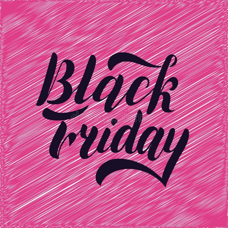 Svart fredag handbokstäver som isoleras på rosa bakgrund Design för Sale tappningtyp vektor illustrationer