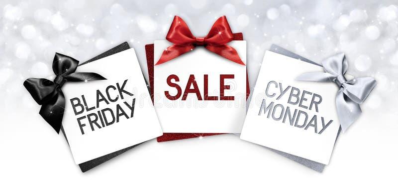 Svart fredag och cybergmåndag försäljningstext skriver på labe för gåvakort stock illustrationer