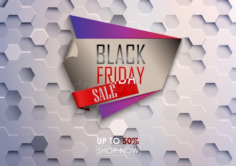 Svart fredag stor försäljningsaffisch med vit sexhörnig bakgrund stock illustrationer