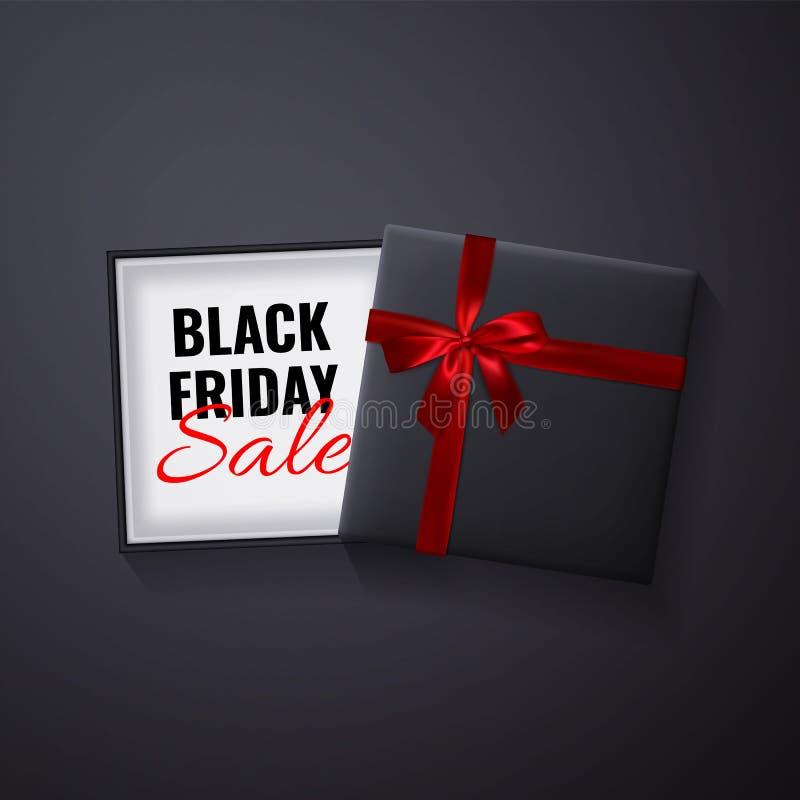 svart friday försäljning Öppen svart gåvaask med röd bästa sikt för pilbåge och för band också vektor för coreldrawillustration vektor illustrationer