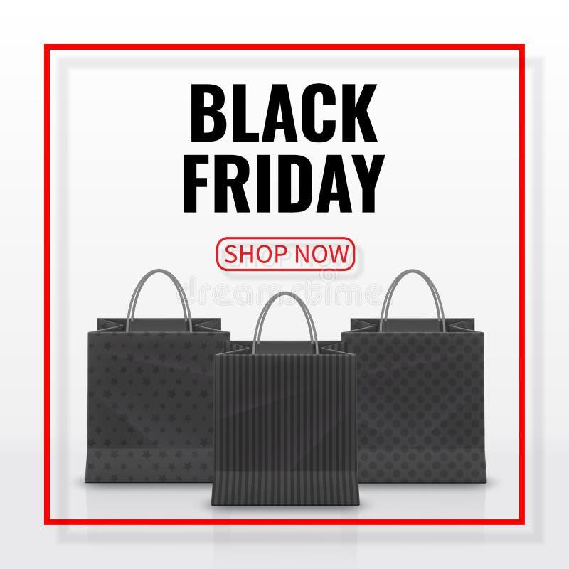 svart friday försäljning Realistisk pappers- shoppingpåse med handtag som isoleras på vit bakgrund också vektor för coreldrawillu royaltyfri illustrationer
